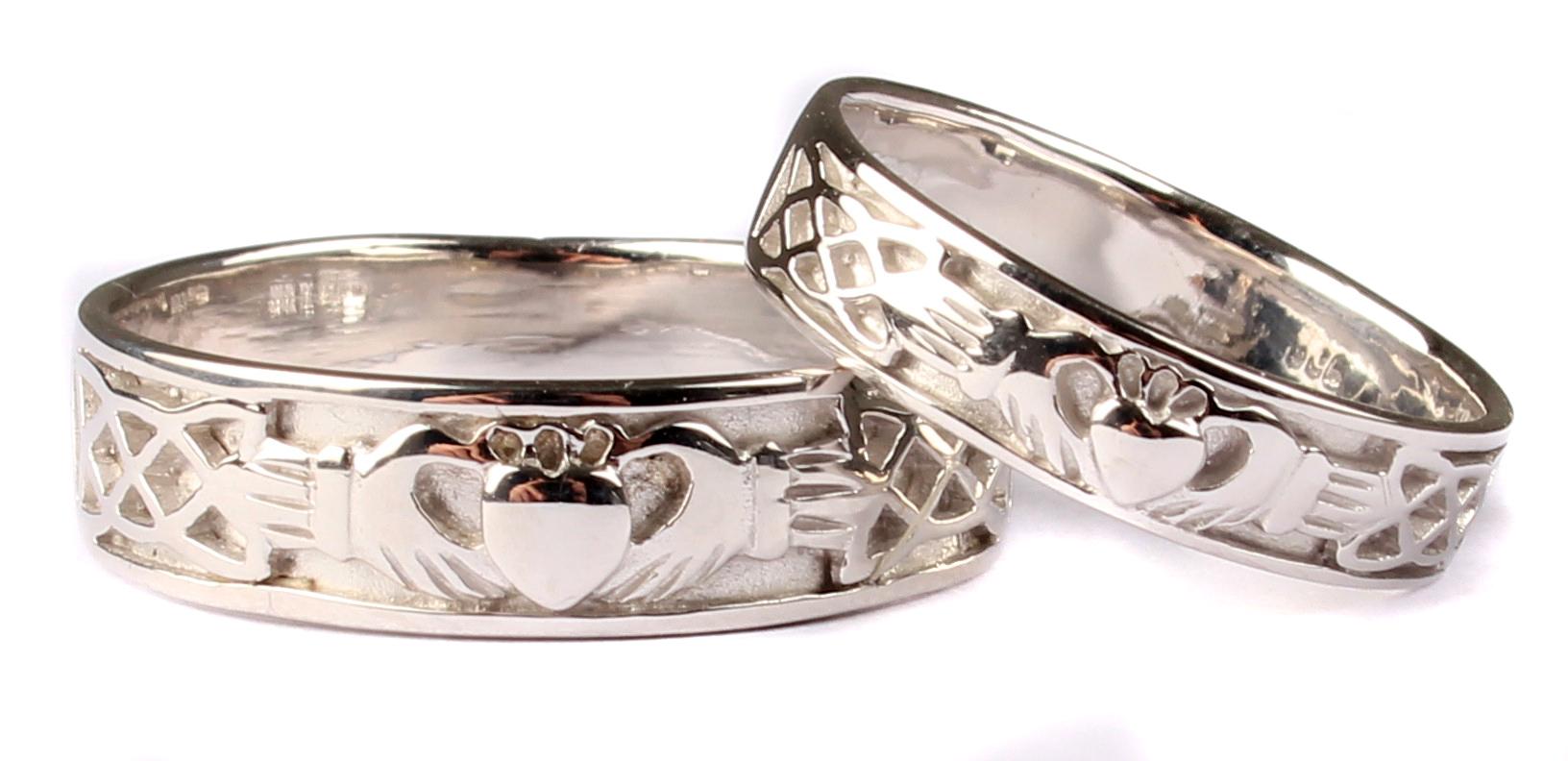 Irish 9 Ct White Gold Claddagh Wedding Ring Set  Celtic