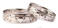Irish 9 Ct White Gold Claddagh Wedding Ring Set.   Celtic ...