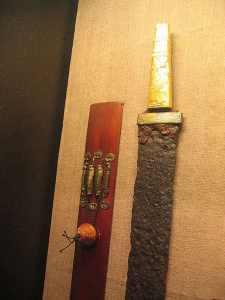 Schwertperle an der Scheide der Goldgriffspatha aus Villingendorf