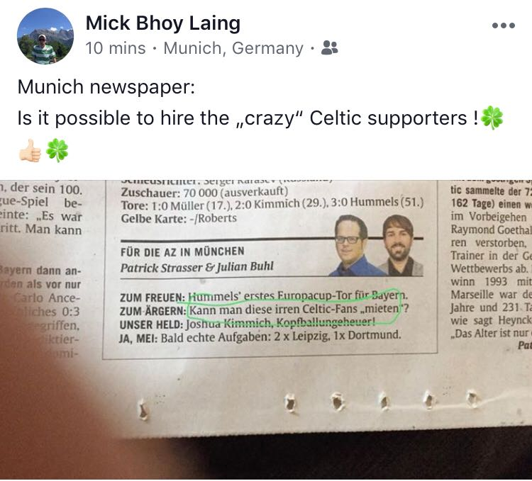 DMfQnSNWAAAOFor  'IS IT POSSIBLE TO HIRE THE 'CRAZY' CELTIC SUPPORTERS?' MUNICH ASKS DMfQnSNWAAAOFor