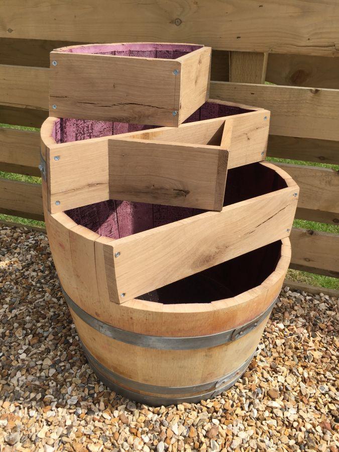 Multi Level Barrel Planter Celtic Timber