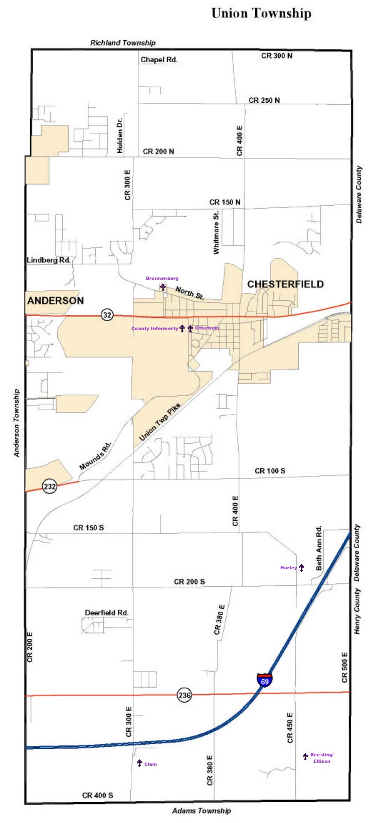 Madison County Indiana Township Map