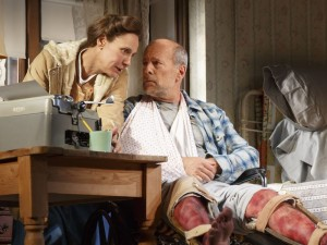 Misery Broadhurst Theatre Laurie Metcalf Bruce Willis Production Credits: Will Frears (director) David Korins (scenic design) Ann Roth (costume design) David Weiner (lighting design) Darron L. West (sound design) Other Credits: Written by: Adapted by William Goldman, from the novel by Stephen King -