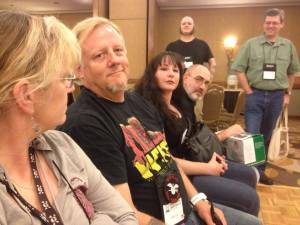 WHC 2014 Yvonne Navarro, Weston Ochse, Mary SanGiovanni, a much older Brian Keene, Carlton Mellick III and Don D'Auria minutes before my induction as a World Horror Grandmaster. (Copyright Kelli Owen 2014)