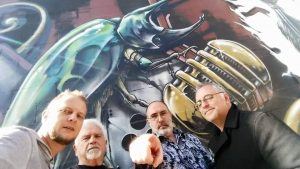 Michael Bailey, Gene O'Neill, Brian and Nick Mamatas take the Mission District. (Photo Copyright Michael Bailey)
