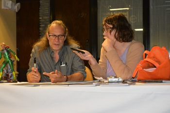 Greg Nicotero chats with Nicole Cushing at the 2015 WonderFest Hobby Expo. (Photo Copyright Robert Cushing)