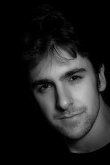black and white photo of Adam Cesare