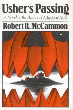 Cover of Usher's Passing by Robert R. McCammon, which shows a jack o lantern opening its mouth to reveal Roderick Usher's castle