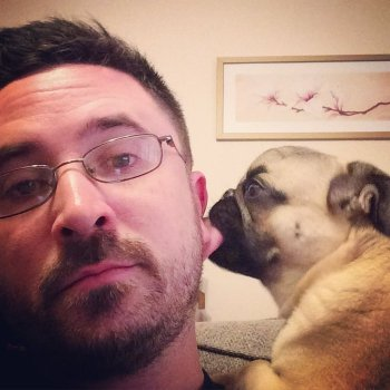 photo of author David Sodergren and his pug dog, Boris