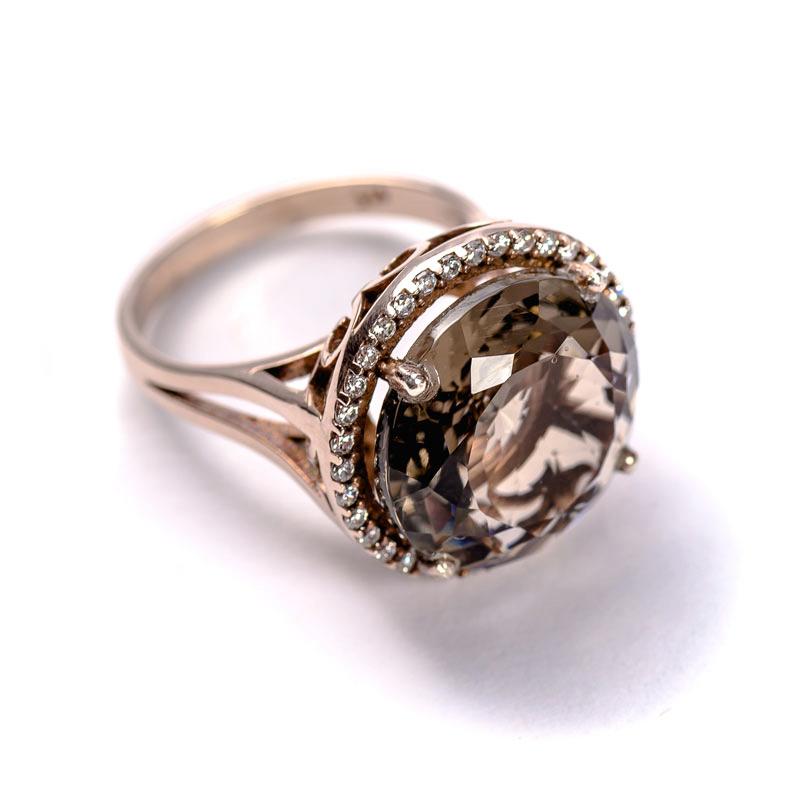 Silberring in Rosegold vergoldet mit braunem Zirkonia