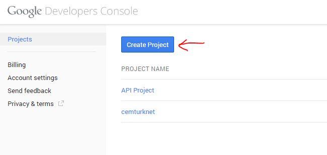 Create Project butonuna tıklayın