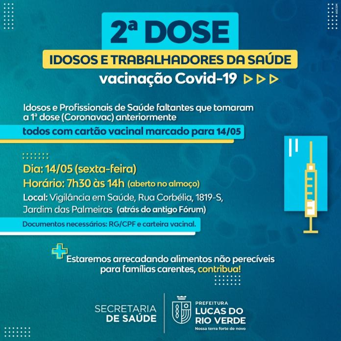 SEGUNDA DOSE - Vacinação Covid-19 para idosos e profissionais da saúde marcados para 14 de maio
