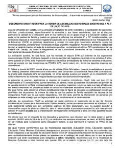 Documento orientador para la ronda de Asambleas Sectoriales del 01 al 07 de julio de 2015