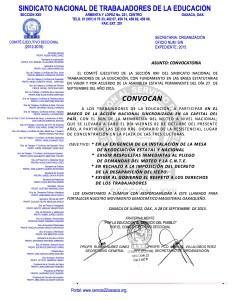 Convocatoria para la Actividad Nacional el 02 de octubre de 2015