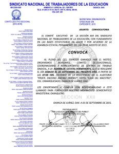 Convocatoria para la Asamblea Estatal Permanente el 05 de septiembre de 2015