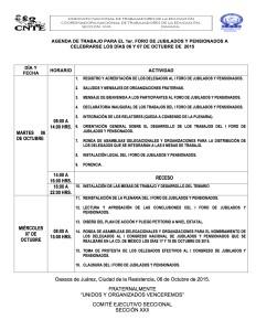 Agenda de Trabajo para el I Foro de Jubilados y Pensionados 6 y 7 octubre 2015