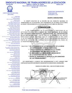 Convocatoria para la Actividad Nacional el 12 de octubre de 2015