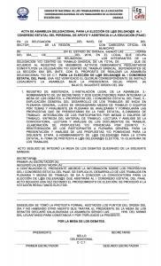 Acta de Asamblea Delegacional rumbo al I Congreso Estatal de PAAE