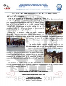 Boletín - En las aulas la propuesta y en las calles la protesta -  marzo de 2016