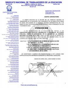 Convocatoria para la concentración masiva sectorial o regional los días 9 y 10 de marzo de 2016