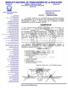 Convocatoria para la ronda de Asambleas Delegacionales del 07 al 17 de marzo de 2016