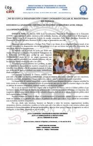 Boletín - No es con la desaparición -  14 de abril de 2016