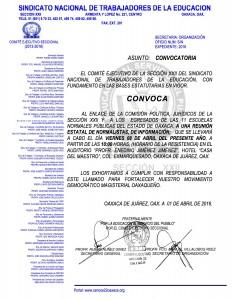 Convocatoria para la reunión estatal de Normalistas el día viernes 08 de abril de 2016