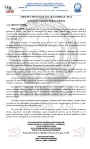 Boletín - GOBIERNO RESPONSABLE DE QUE NO HAYA CLASES, SE NIEGAN A RESPONDER AL PUEBLO - 28 agosto 2016