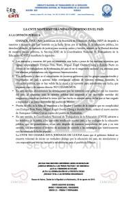 Boletín - LA CNTE NO PERMITIRÁ NINGÚN DESPIDO EN EL PAÍS - 26 agosto 2016