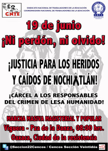Cartel marcha viguera zocalo nochix 19 agosto 2016