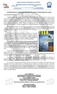 Boletín - EN RECHAZO A LA REFORMA EDUCATIVA ESTE LUNES INICIA EL TEEA- 18 septiembre 2016