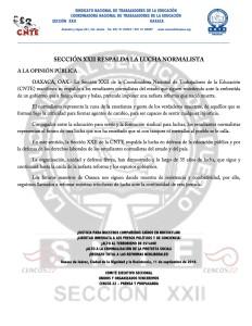 Boletín - SECCION XXII RESPALDA LA LUCHA NORMALISTA - 11 septiembre 2016