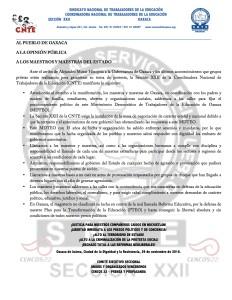 Boletín - AL PUEBLO DE OAXACA - 29 noviembre 2016
