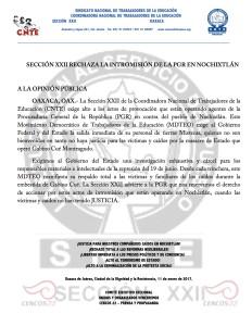 Boletí- Sección XXII rechaza la intromisión de la PGR en Nochixtlán - 11 enero 2017