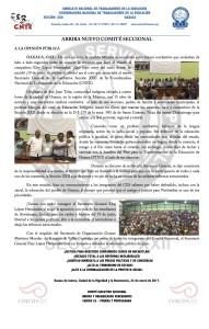 Boletín - ARRIBA NUEVO COMITÉ SECCIONAL - 22 enero 2017