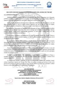 Boletín - SECCION XXII RECHAZA LA CONSTRUCCION DEL MURO - 28 enero 2017