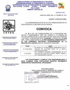 Convocatoria para coberturar el XI Precongreso Democrático y el XXII Congreso Seccional Extraordinario de la sección XXII a celebrarse los días 19 20 y 21 de enero de 2017