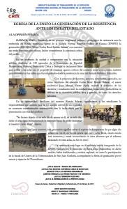 Boletín - EGRESA DE LA ENSFO LA GENERACIÓN DE LA RESISTENCIA ANTE LOS EMBATES DEL ESTADO - 25 febrero 2017