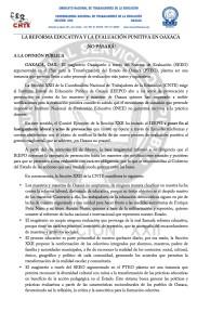 Boletín - LA REFORMA EDUCATIVA Y LA EVALUACIÓN PUNITIVA EN OAXACA NO PASARÁN- 2 febrero 2017(1:2)