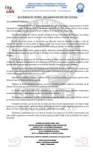 Boletín - ALCEMOS EL PUÑO SIGAMOS EN PIE DE LUCHA - 8 marzo 2017