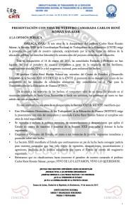 Boletín - PRESENTACIÓN CON VIDA DE CARLOS RENÉ ROMÁN SALAZAR - 14 marzo 2017