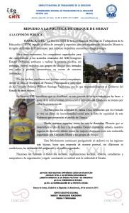 Boletín - REPUDIO A LA POLÍTICA DE CHOQUE DE MURAT - 30 marzo 2017
