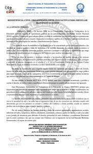 Boletín - RESISTENCIA CIVIL ORGANIZADA ANTE INICIATIVA PARA REGULAR MANIFESTACIONES - 27 marzo 2017