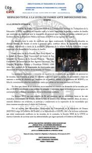 Boletín - RESPALDO TOTAL A LA LUCHA DE PADRES ANTE IMPOSICIONES DEL IEEPO - 29 marzo 2017