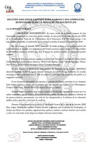 Boletín - SECCIÓN XXII EXIGE CASTIGO PARA GABINO Y SUS COMPLICES, RESPONSABLES DE LA MASACRE EN NOCHIXTLÁN - 19 marzo 2017