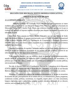 Boletín - SECCIÓN XXII RECHAZA NUEVO MODELO EDUCATIVO UNA FALACIA MÁS DE EPN - 13 marzo 2017(1:2)