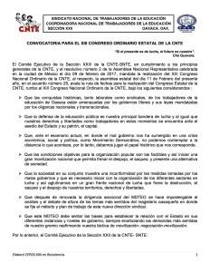 Convocatoria para el XIII Congreso Ordinario Estatal de la CNTE 18 y 19 de marzo de 2017