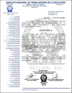 Convocatoria para la Asamblea Estatal Mixta el día sábado 1 de abril de 2017