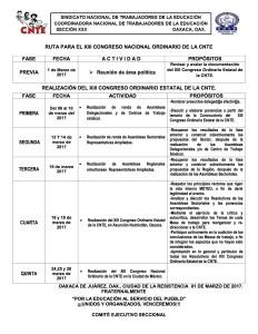 Ruta para el XIII Congreso Nacional Ordinario de la CNTE marzo de 2017
