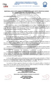 Boletín - REPUDIA SECCIÓN XXII LA AGRESIÓN CONTRA PADRES QUE ESTÁ PROVOCANDO EL IEEPO-  4 abril 2017